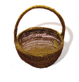 Gathering Basket with handle - willow (warp) red bud (weft)