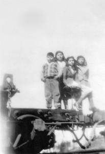 Clyde Domingo, Ruth Thompson-Wilson, Ethel Franklin-Geisdorff, Dorothy Domingo-Standage - At Westside Flume and Lumber Company
