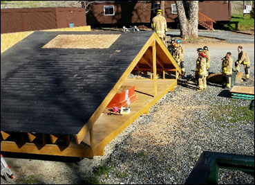 Columbia College Academy using the  station 81 roof prop for ventilation training