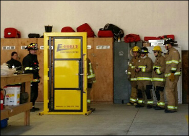 Columbia College Academy getting hands on with the forcible entry prop at Station 81